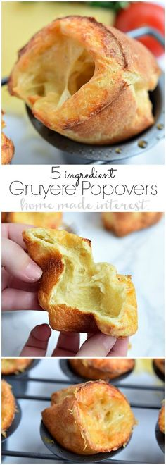 These easy Gruyere Popovers are a fluffy, cheesy popover recipe that would be the perfect bread to make for Easter dinner! Popovers are actually a really easy bread recipe that always impresses guests! Make this bread for your next dinner party and watch it disappear! #easter #bread #cheese #brunch #baking
