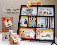 Halloween trio of gift giving and home decor ideas featuring the Motley Monsters designer paper and Freaky Friends stamp set, by Patty Bennett www.PattyStamps.com