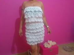White Raffle Crochet Dress - YouTube