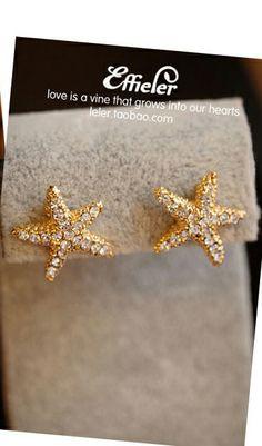 diamond-studded starfish earrings