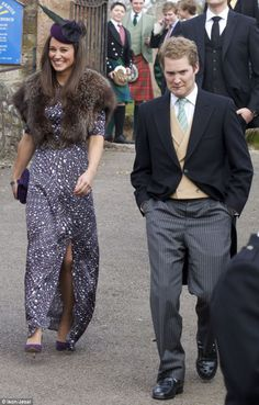 Pippa Middleton attends the wedding of friends Abi Elphinstone and Ed Salvesen in Aberdeenshire