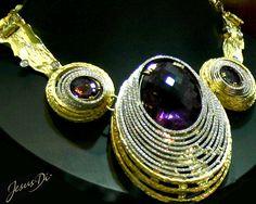 Collier in oro, diamanti e ametista realizzato artigianalmente