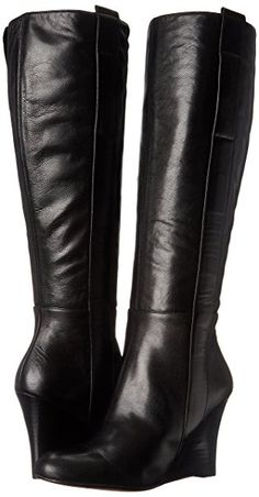Nine West Women's Oran Leather Knee High Boot, Black, 6.5 M US