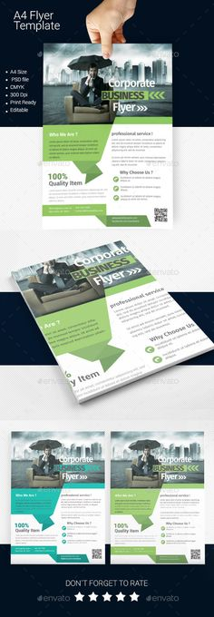 A4 Business Flyer Template Fonts Logos Icons Pinterest