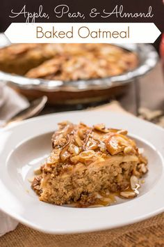 This Amish style Baked Oatmeal is topped with apples, pears, and almonds for a hearty breakfast treat. // @neighborfood