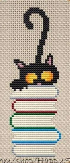 This Pin was discovered by Nük Cat Cross Stitches, Cross Stitch Bookmarks, Cross Stitch Books, Cross Stitch Cards, Cross Stitching, Cross Stitch Embroidery, Hand Embroidery, Embroidery Ideas, Cross Stitch Designs