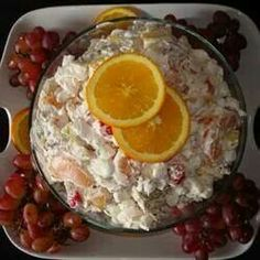 Hawaiian Salad   3 cans mandarin oranges 1 can crushed pineapple 1 jar maraschino cherries 8 oz sour cream 16 oz cool whip 1/2 bag coconut 2 bags mini marshmallows  Drain fruit. Mix well. Cover and refrigerate overnight.