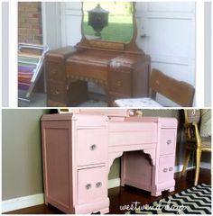 Vintage Art Deco Waterfall Vanity and Mirror Before & After Makeover Using Americana Decor Chalky Finish Paint - by Westwind Days