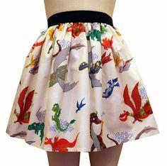 Multi Dragons Full Skirt by GoFollowRabbits on Etsy