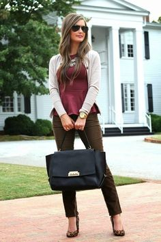 Business Casual Outfit: Burgundy Crepe Peplum Top