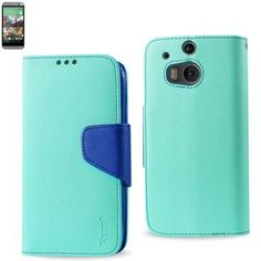 Reiko Wallet Case 3 In 1 For HTC One M8 Green With Interior Navy Leather-Like Material And Polymer Cover
