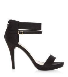 Black Double Ankle Strap Open Toe Heels