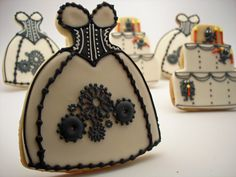 Steampunk cookies - A corseted Victorian gown with gear details. Lovely!