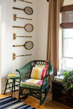 Trinity brought this wicker rocker back to life by spray-painting the frame hunter green and recovering the cushions with blanket upholstery (in this case, a vibrant vintage Hudson Bay throw).       - HouseBeautiful.com