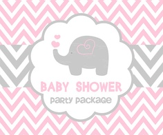 BABY SHOWER PINK elephant party package by ceremoniaGlam Baby Girl Shower Themes, Baby Shower Parties, Baby Showers, Pink Elephant Party, Pink Animals, Animal Party, Party Gifts, Pink Girl, First Birthdays