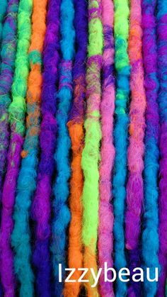 Neon Rainbow Dreads close-up #Dreads