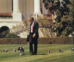 George H.W. Bush walks with his dog Millie and her puppies: | The 31 Best Photos Of Presidents With Their Pets
