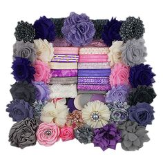 Our Large DIY Headband Kits are the perfect project for showers, birthday parties, craft show prepping, or new-mom gifting! Let us do the work to arrange the perfect combination of items to match your color scheme.  Set includes: *Enough material to make 28 headbands and 2 hair clips *Basic instructions and suggested sizing chart  What youll need: *Hot glue gun *Scissors *Ruler  *If any substitutions are necessary, the item will match the theme pictured*  Thank you so much for shopping with…
