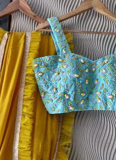 Georgette Sarees, Silk Sarees, White Blouse Designs, Work Blouse, Embroidered Silk, Saree Blouse, Mustard, Blue, Sky