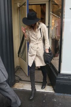 trench coat + black hat (kate moss)
