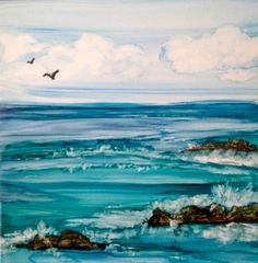 Alcohol ink ocean scene on tile by L Crocco