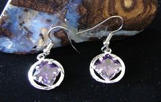 """Sterling Silver Narcotics Anonymous 9 16"""" Amethyst NA Symbol Earrings Jewelry   eBay"""
