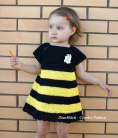 Crochet Pattern Bee Dress for a girl por DearStitch en Etsy Crochet Toddler Dress, Crochet Baby Dress Pattern, Baby Girl Crochet, Crochet Baby Clothes, Knit Vest Pattern, Crochet For Kids, Knit Crochet, Crochet Baby Costumes, Crochet Baby Dresses