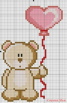Birthday teddy bear with balloons cross stitch. Cross Stitch Cards, Cross Stitch Rose, Cross Stitch Baby, Cross Stitching, Cross Stitch Embroidery, Baby Cross Stitch Patterns, Cross Stitch Designs, Donia, Cross Stitch Pictures