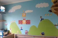 Super Mario bedroom. I did this for my son. Printed the pictures from google images. Cut them out and laminated them. Attached blu tack so he could 'change the level'. The pictures I had prepared in secret a few days before then I painted the background onto his wall one day while he was at school. This was the first wall I did, then of course he wanted the the opposite wall done, which involved painting bowsers castle onto the wall!