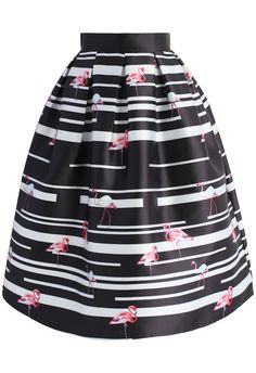 Here We Flamingo Again Printed Midi Skirt  - New Arrivals - Retro, Indie and Unique Fashion