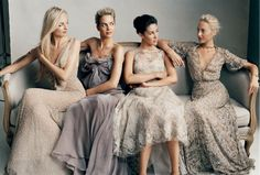 Virginie, Jenna, Prisca and Claire Courtin-Clarins in Donna Karan, Donna Karan, Monique Lhuillier and Valentino successively