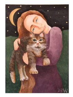 Mujer, gato y Luna.