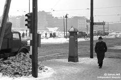 Anfang 1950er Ost-Berlin - Stalinallee Ecke Warschauer Straße.