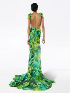 Versace Printed V-neck Backless Maxi Dress - Farfetch Nice Dresses, Formal Dresses, Amazing Dresses, Backless Maxi Dresses, Jungle Print, Green Silk, Versace, Women Wear, V Neck