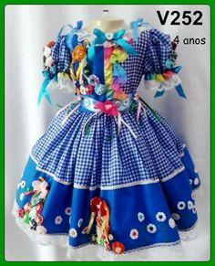 Vestidos Caipira Infantil :: Yang Festas e Fantasias Maria Clara, Girls Dresses, Summer Dresses, Harajuku, Diy And Crafts, Sewing, Kids, Baby, Clothes