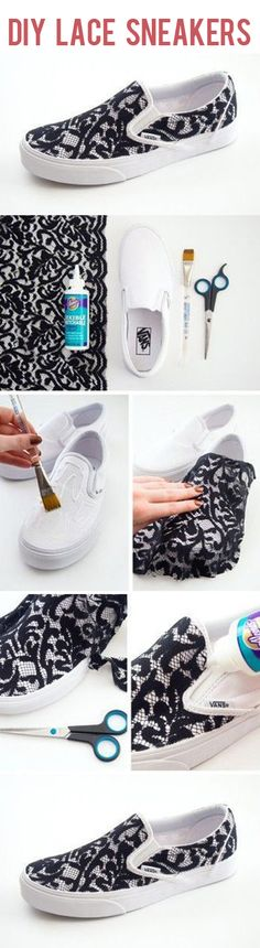 DIY Lace Sneakers Tutorial