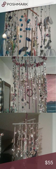 beautiful handmade wind chimes all are made by hand, by me, made with vintage jewels and some wit shells Other