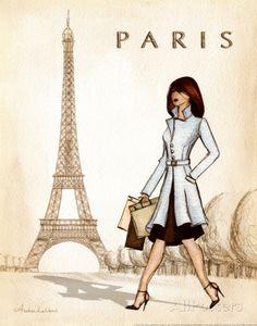 Diverse hoogtepunten van Parijs in één kleurrijk beeld Kunstdruk