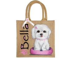 Dog bags Personalized Hand Painted Jute Bags by PurplePebbleGifts