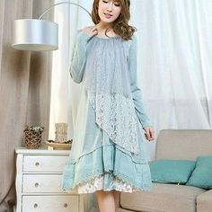 Buy 'Blue Hat – Long-Sleeve Lace Panel Layered Dress' with Free International Shipping at YesStyle.com. Browse and shop for thousands of Asian fashion items from China and more!