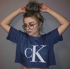 Fall 2016 | blue Calvin Klein crop top, round glasses frames