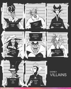 Disney Villains Mugshots www.nl Maleficent and the evil queen look really refined on their mugshot. Disney Pixar, Disney Punk, Disney Amor, World Disney, Film Disney, Disney And Dreamworks, Disney Love, Disney Magic, Funny Disney
