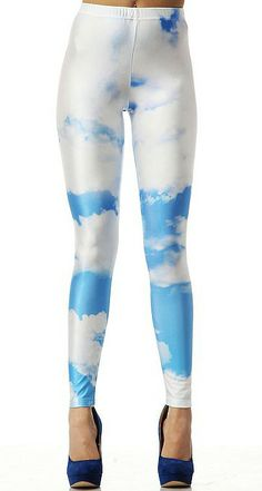 #SheInside Blue Sky And White Clouds Print Elastic Leggings