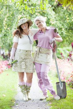 Gardening Apparel.  Hat, skort, Wellingtons, pants, apron and tops. All from www.GardenGirlUSA.com