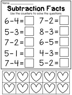 Addition and Subtraction Worksheets to 10 (with counters) - Modern Math Addition Worksheets, Addition And Subtraction Worksheets, Printable Preschool Worksheets, Subtraction Kindergarten, Kindergarten Math Worksheets, Math Activities, Learning English For Kids, Preschool Writing, Math For Kids
