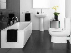 badezimmer in schwarz weiß