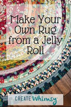 Sewing Fabric Make your own decorator rug from a jelly roll of fabric and some batting! - Learn tips and tricks to make beautiful and colorful jelly roll rugs. All you need is some precut batting and a jelly roll of fabric! Jellyroll Quilts, Rag Quilt, Fabric Rug, Fabric Scraps, Scrap Fabric, Recycled Fabric, Jelly Roll Sewing, Jelly Roll Projects, Rag Rug Diy