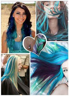 blue ombre hair highlights  Só esperando chegar as minhas cores para testar o azul!