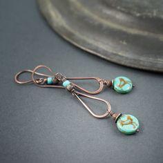 Rustic Tribal Earrings • Hand Forged Copper Drop Earrings • Native Bird • Turquoise Earrings • Long Ethnic Earrings • Oxidized Copper by entre2et7 on Etsy