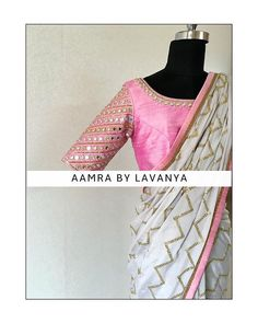 Combination of icegrey with a pastel pink mirror and bead hand embroidered blouse.For details and colour customisation please call/whatsapp on 28 March 2019 Sari Design, Sari Blouse Designs, Blouse Styles, Mirror Work Saree Blouse, Golden Saree, Blouse Desings, Drape Sarees, Stylish Blouse Design, Simple Sarees